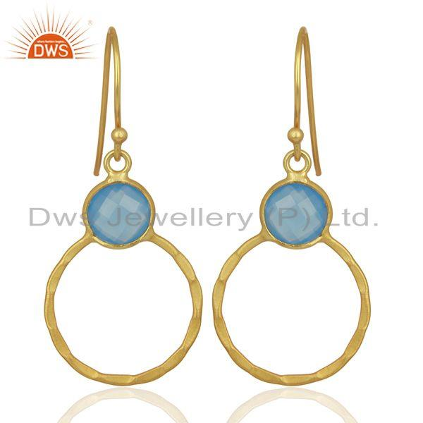 Blue Chalcedony Dangle 14K Gold Plated 925 Sterling Silver Earrings Jewelry
