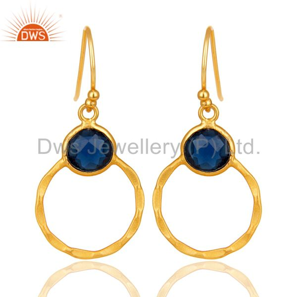 18K Gold Plated 925 Sterling Silver Handmade Blue Corrundum Bezel Drop Earrings