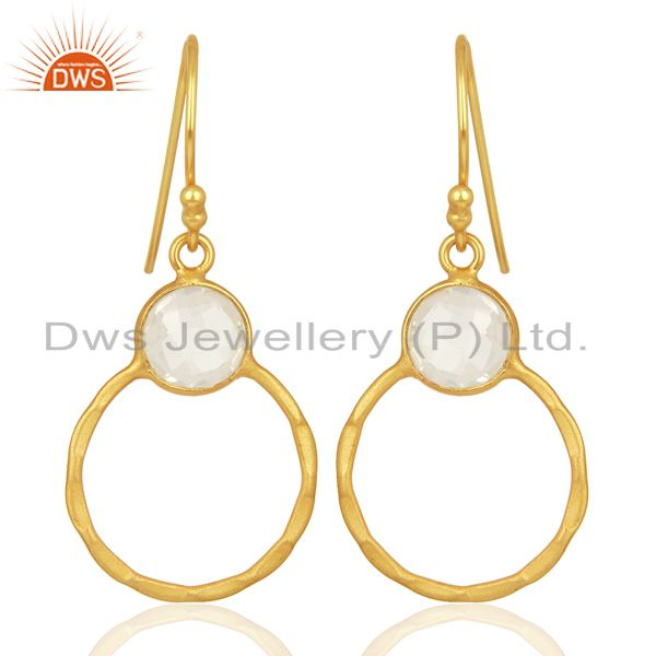 Crystal Quartz Dangle 14K Gold Plated 925 Sterling Silver Earrings Jewelry