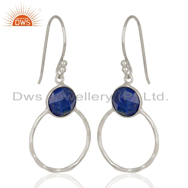 Lapis Lazuli Vintage Double Circle Sterling Silver White Rhodium Plated Earring
