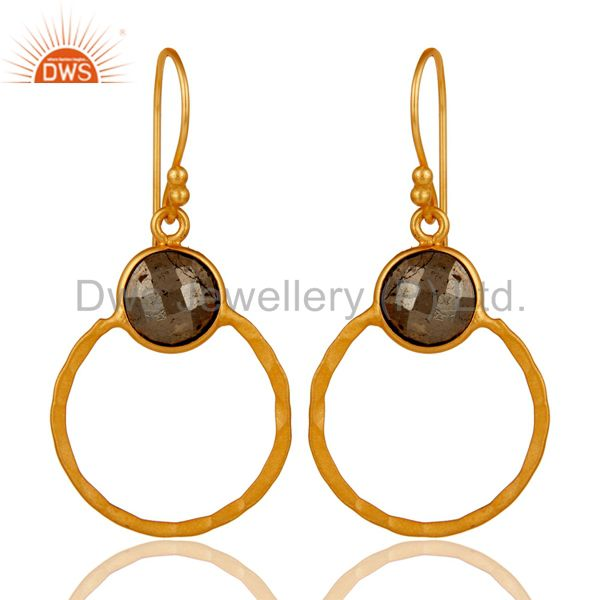 Pyrite and 18K Gold Plated Sterling Silver Circle Earring