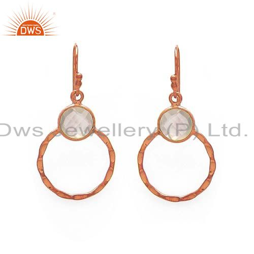 18K Rose Gold Plated Sterling Silver Rose Quartz Hammered Circle Dangle Earrings