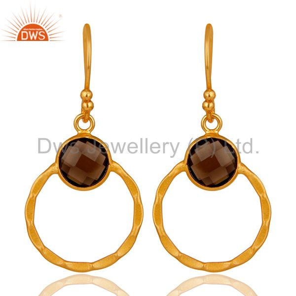 Smokey 18K Gold Plated Sterling Silver Circle Earring