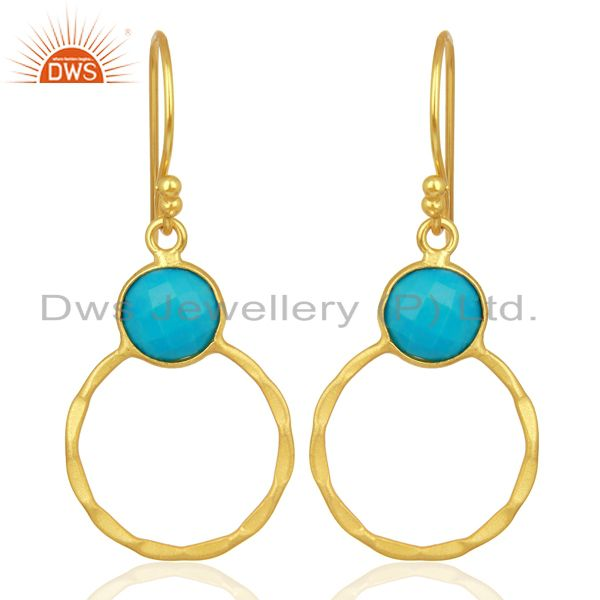 Turquoise Dangle 18K Gold Plated 925 Sterling Silver Earrings Jewelry