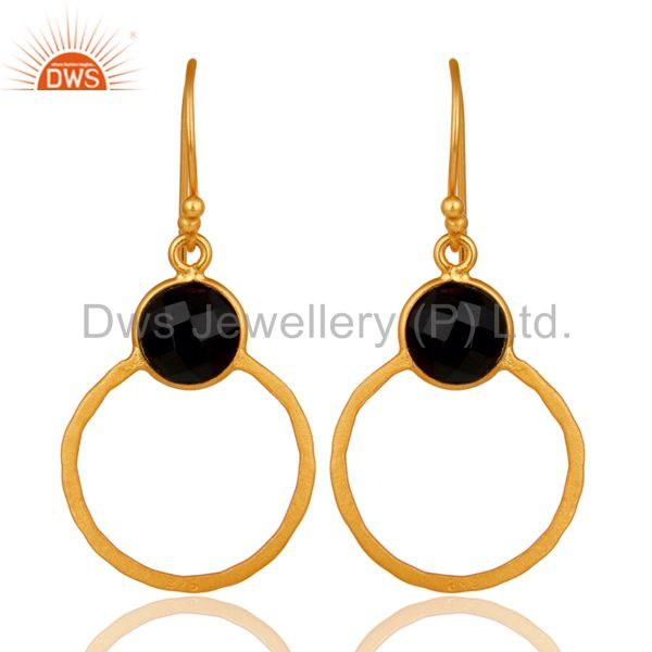 Black Onyx 18K Gold Plated Sterling Silver Circle Earring
