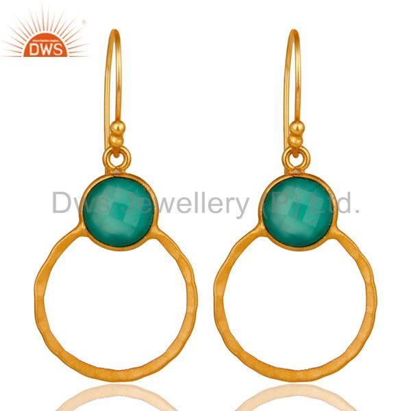 Green Onyx & 18K Gold Plated Sterling Silver Circle Earring