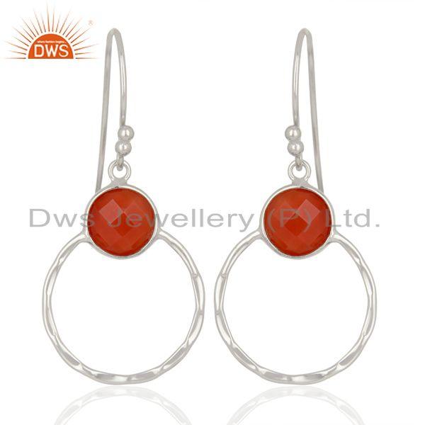 Red Onyx Double Circle  925 Sterling Silver White Rhodium Plated Earring
