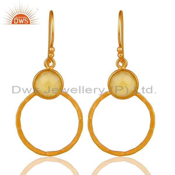 Yellow Chalcedony 18K Gold Plated Sterling Silver Circle Earring