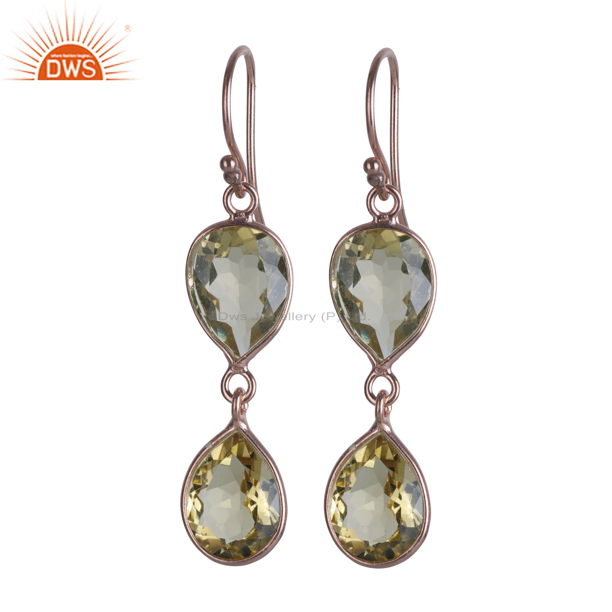 18K Rose Gold Plated Sterling Silver Lemon Topaz Bezel Set Double Drop Earrings