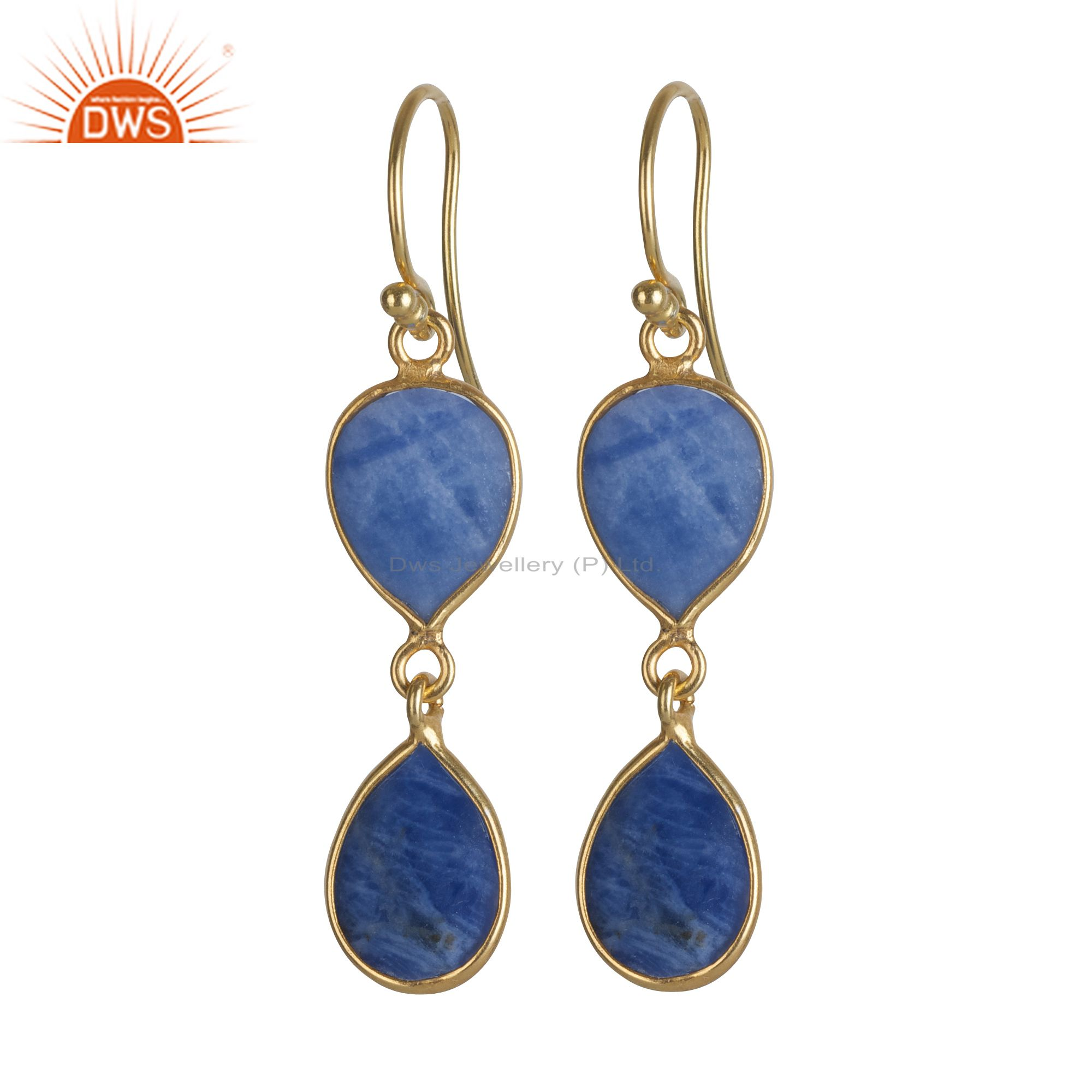 18K Yellow Gold Plated Sterling Silver Sodalite Bezel Set Double Drop Earrings