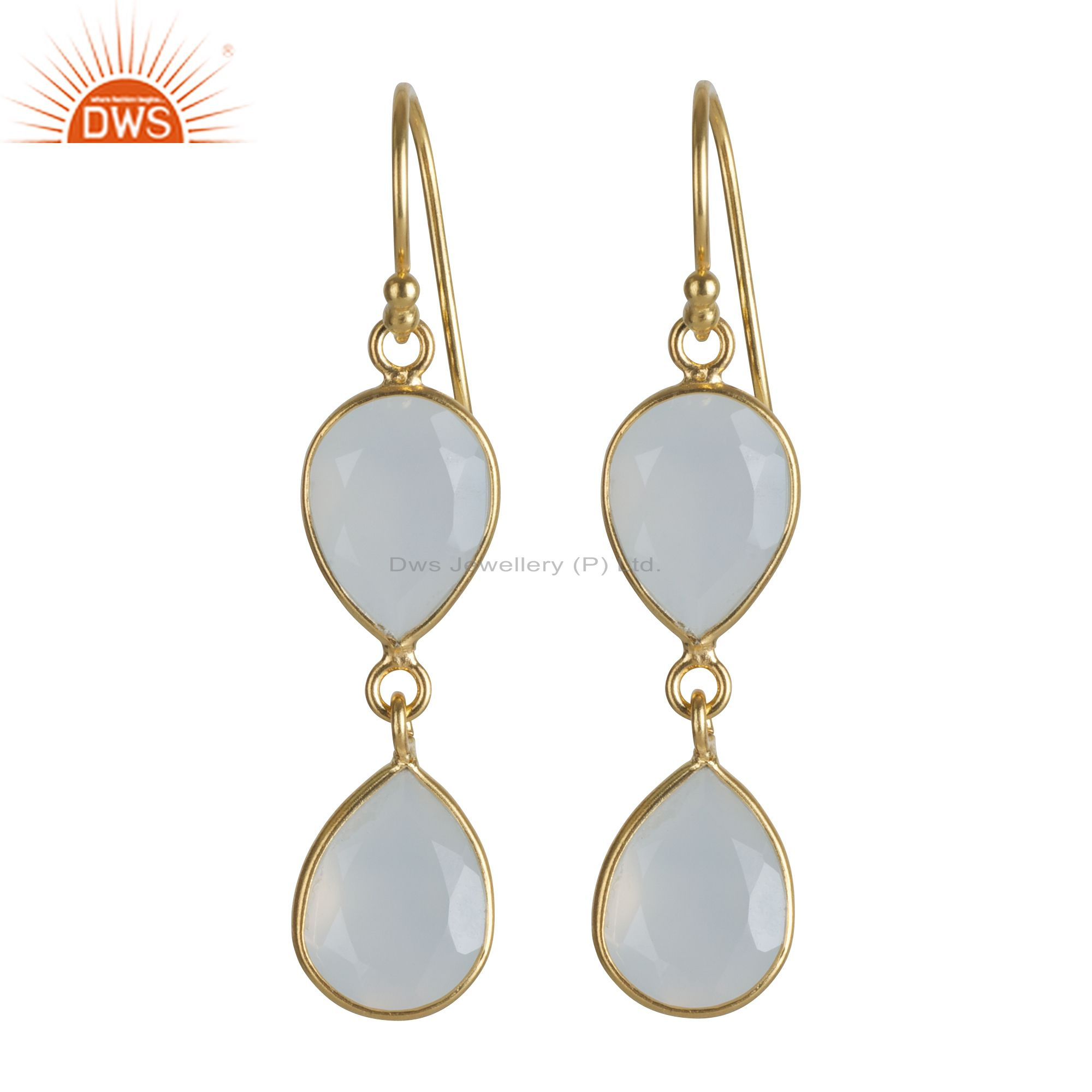 18K Yellow Gold Plated Sterling Silver White Chalcedony Drop Dangle Earrings