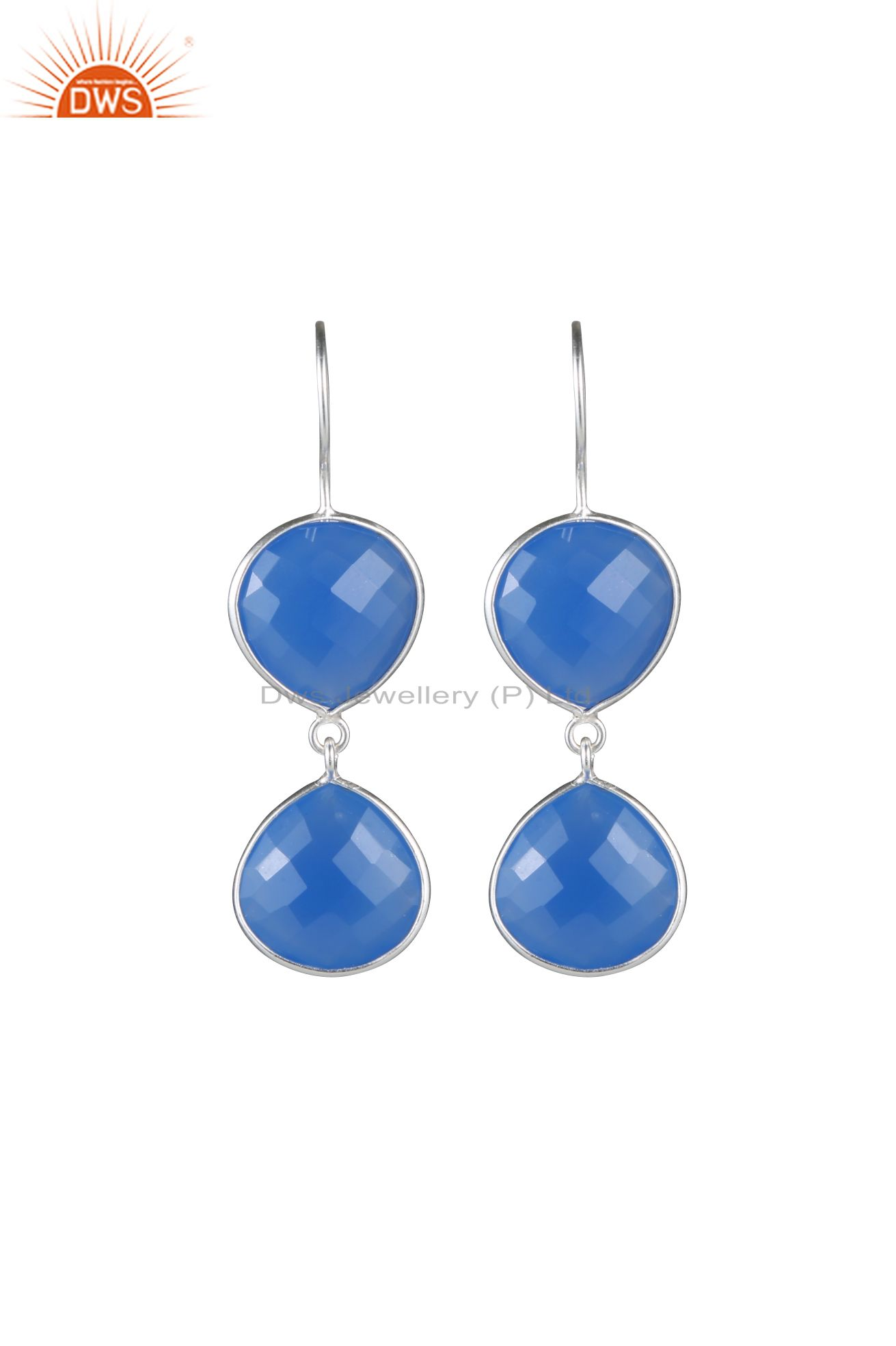 925 Sterling Silver Blue Chalcedony Faceted Gemstone Bezel Drop Earrings