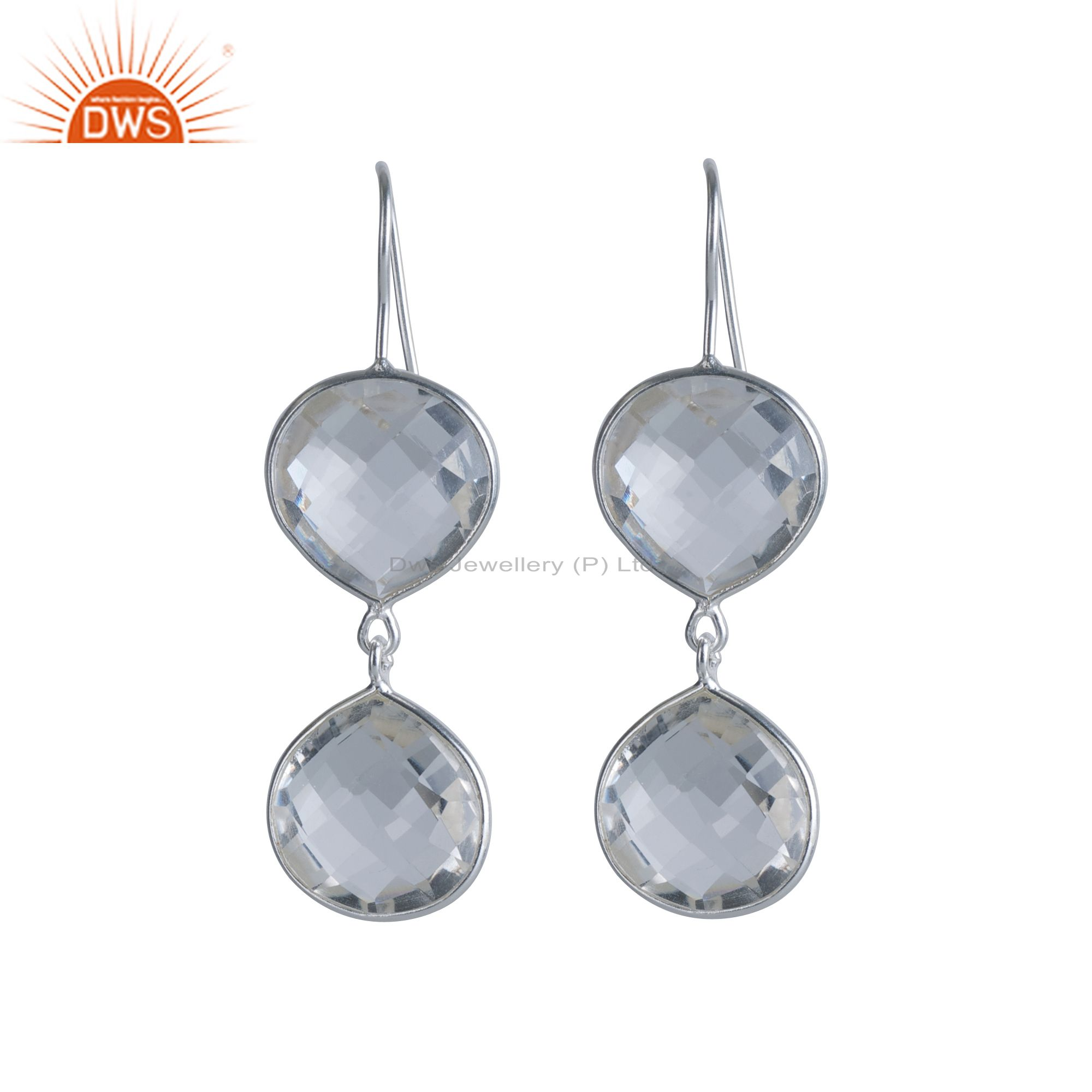 Handmade 925 Sterling Silver Crystal Quartz Bezel Set Double Drop Earrings