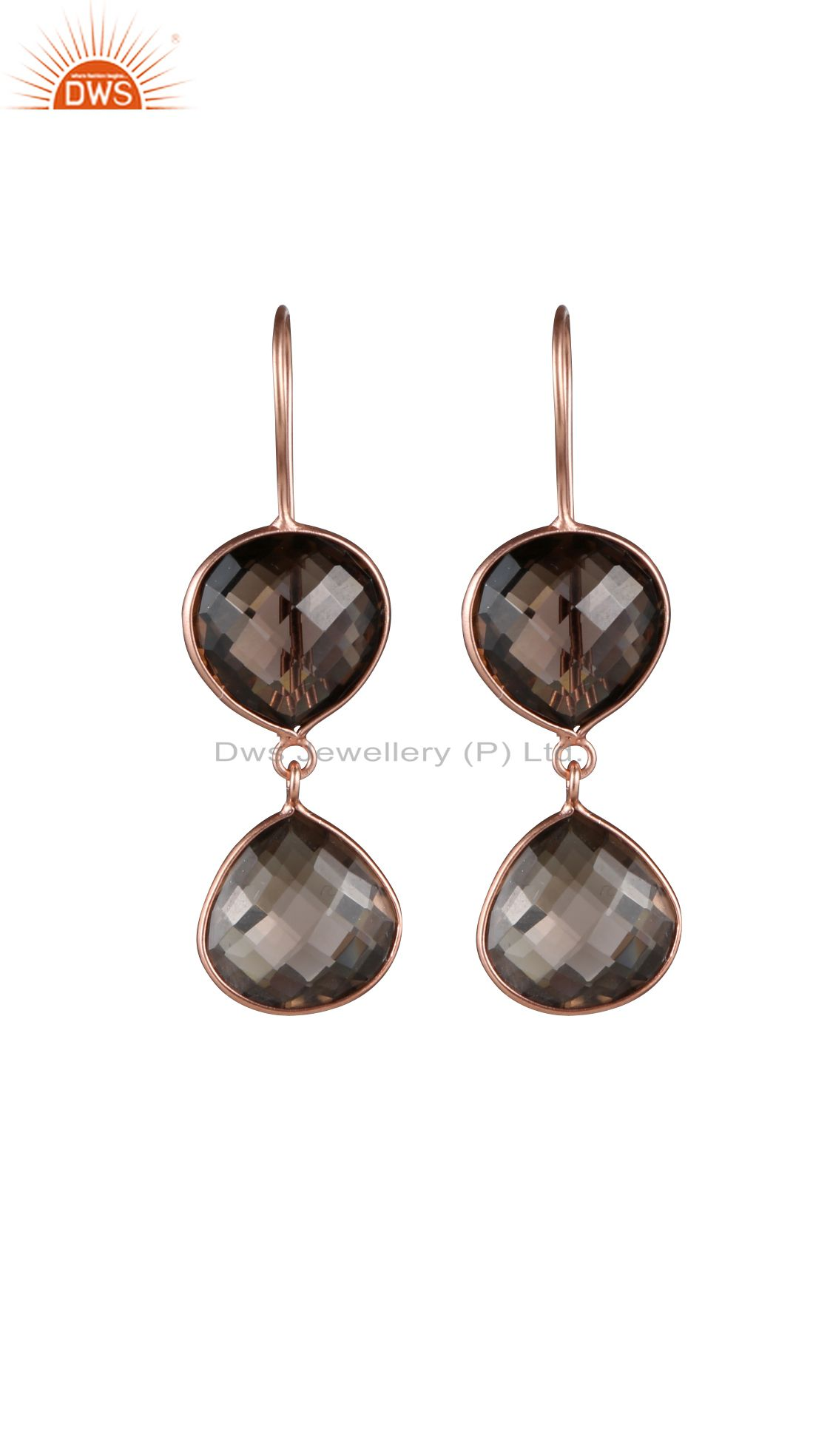 18K Rose Gold Plated Sterling Silver Smoky Quartz Bezel Double Drop Earrings