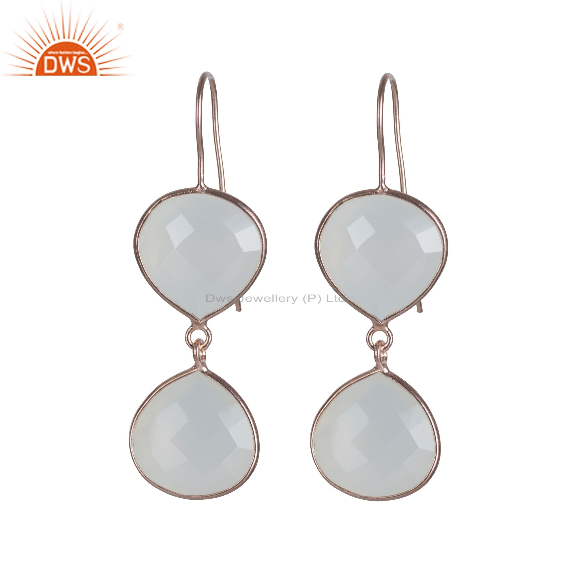 18K Rose Gold Over Sterling Silver White Moonstone Bezel Set Dangle Earrings