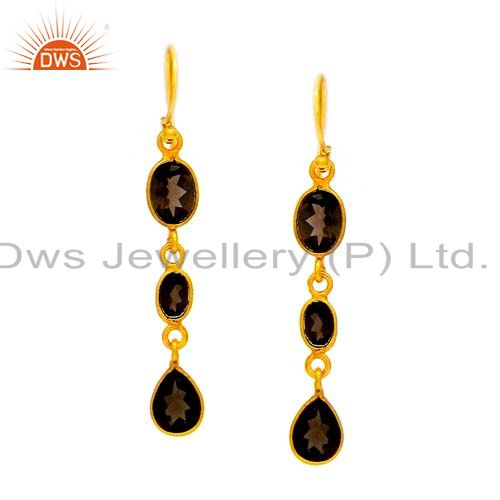 22K Yellow Gold Plated Sterling Silver Smoky Quartz Bezel Set Dangle Earrings
