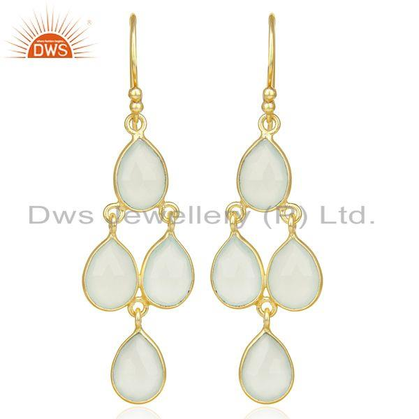 Faceted Dyed Blue Chalcedony Bezel-Set Chandelier Earrings - Gold Plated Silver