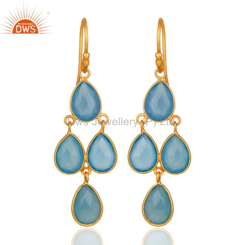 Faceted Dyed Blue Chalcedony Gemstone Dangle Earrings In 18K Gold On Silver
