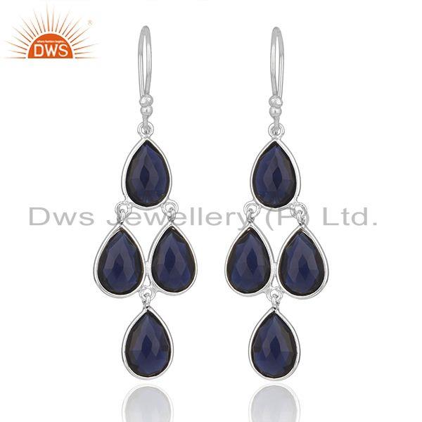 Handmade Fine Sterling Silver Blue Corundum Gemstone Earring Wholesale