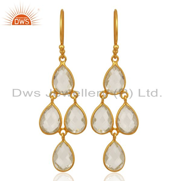 18K Yellow Gold Plated Sterling Silver Crystal Quartz Bezel Set Dangle Earrings