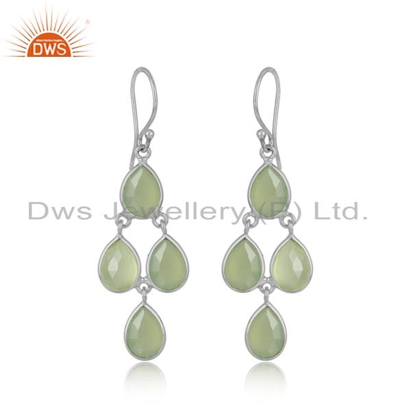 Handmade chandelier earring in silver 925 and prenhite chalcedony