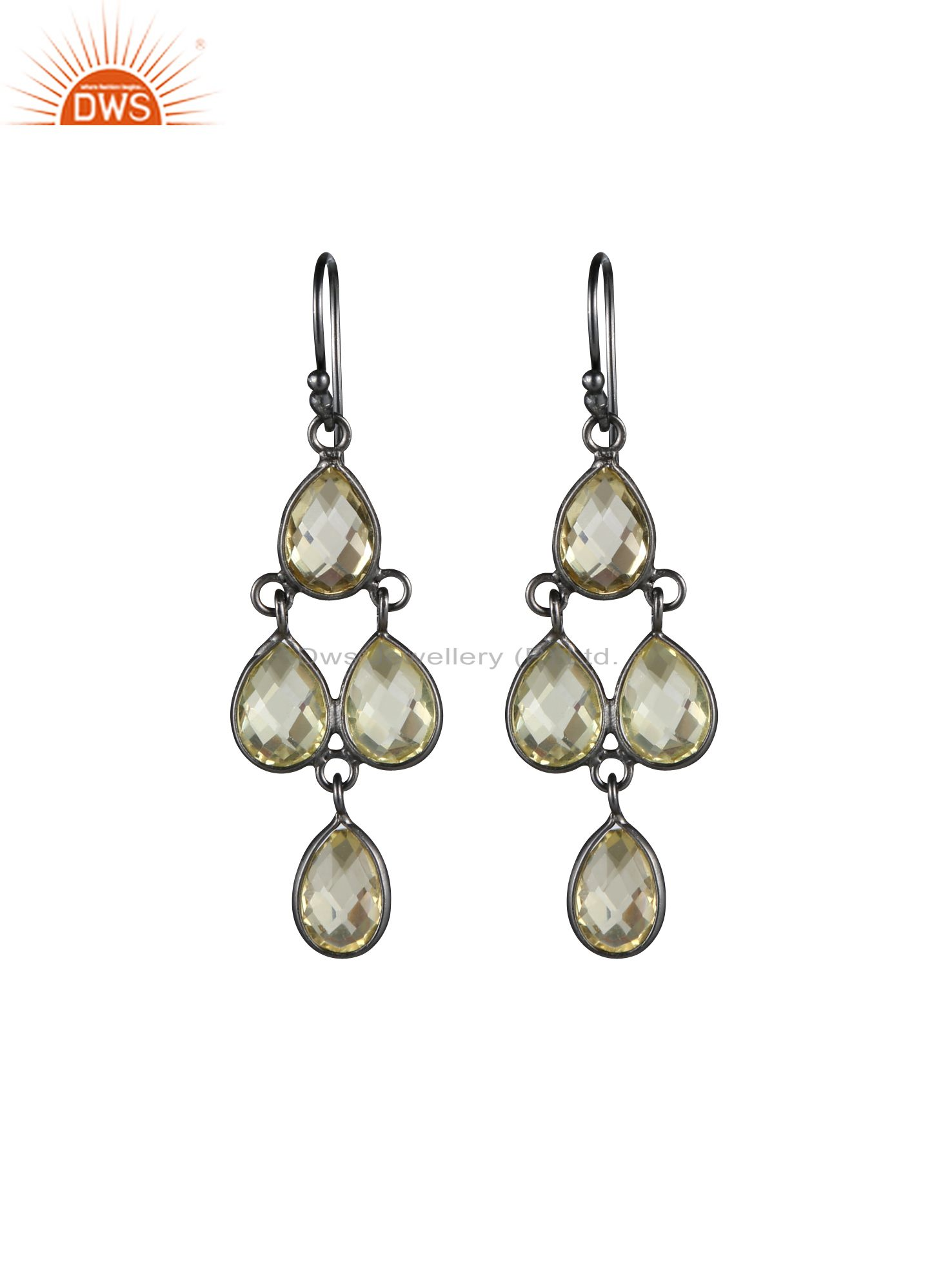 Oxidized Solid Sterling Silver Lemon Topaz Bezel Set Dangle Earrings
