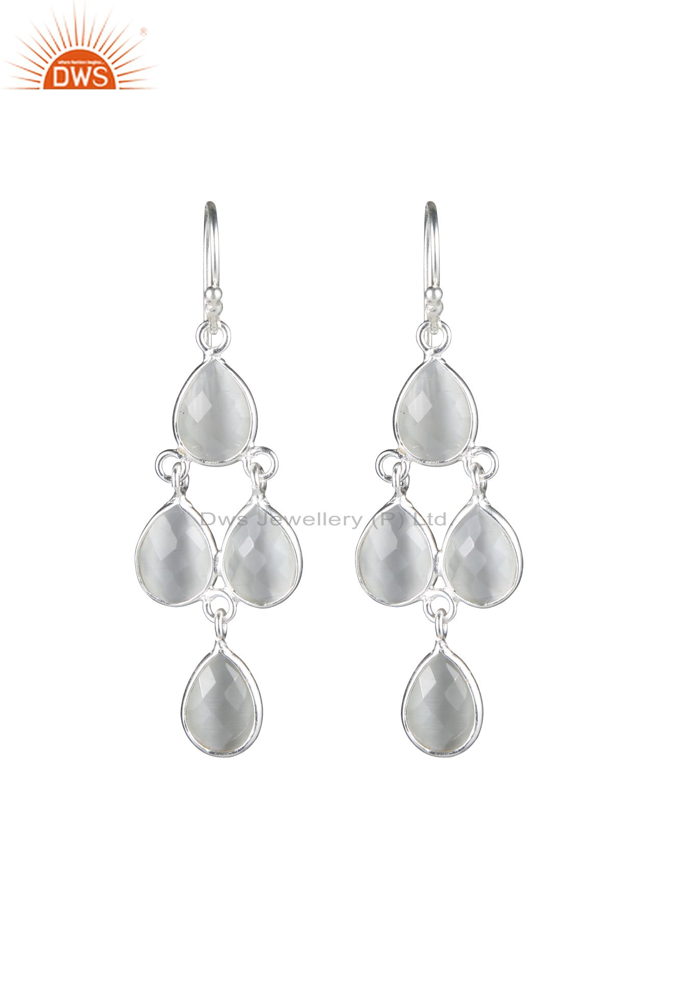 Handmade 925 Sterling Silver White Chalcedony Drop Chandelier Earrings