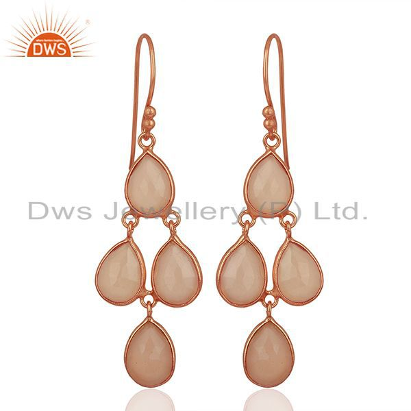18K Rose Gold Plated Sterling Silver Rose Chalcedony Bezel Set Hook Earrings