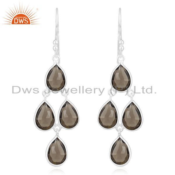 Smoky Quartz Gemstone Handmade Fine Sterling Silver Earring Jewelry Manufacturer