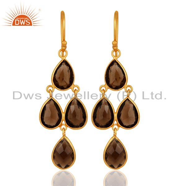 14K Yellow Gold Plated Sterling Silver Bezel-Set Smoky Quartz Chandelier Earring