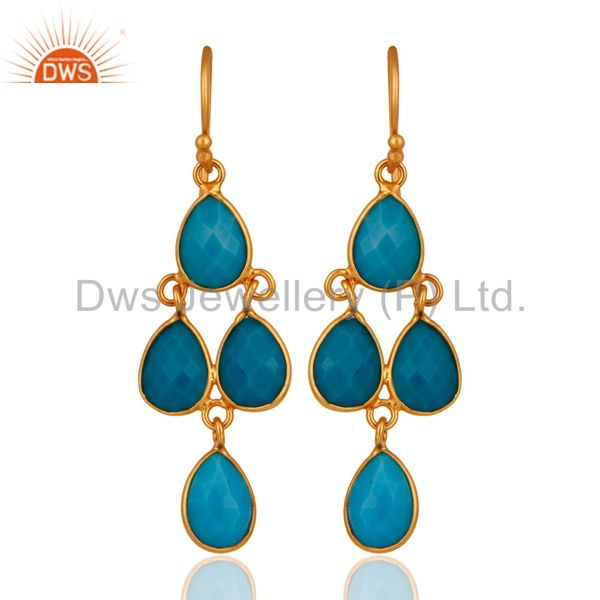 14K Yellow Gold Plated Sterling Silver Turquoise Gemstone Bezel Dangle Earrings