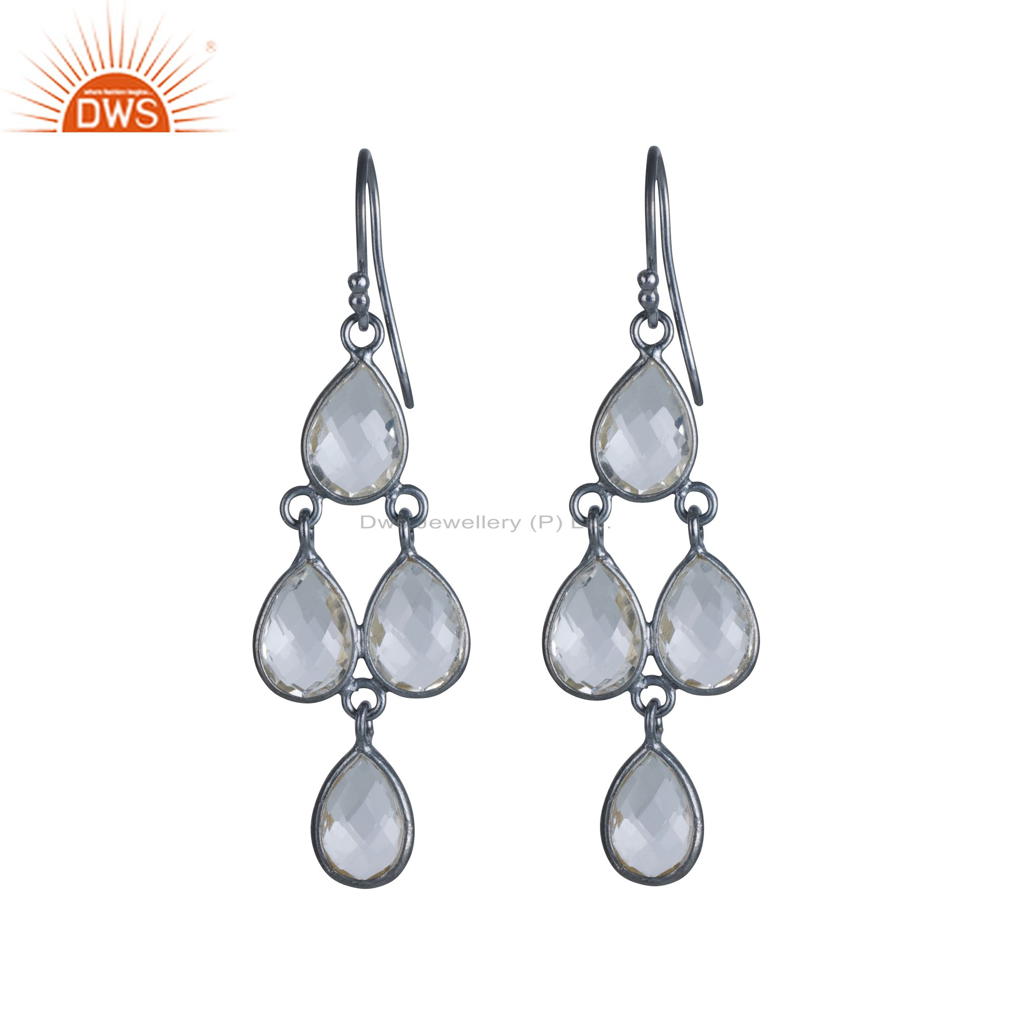 925 Sterling Silver Oxidized White Chalcedony Bezel Set Drop Chandelier Earrings