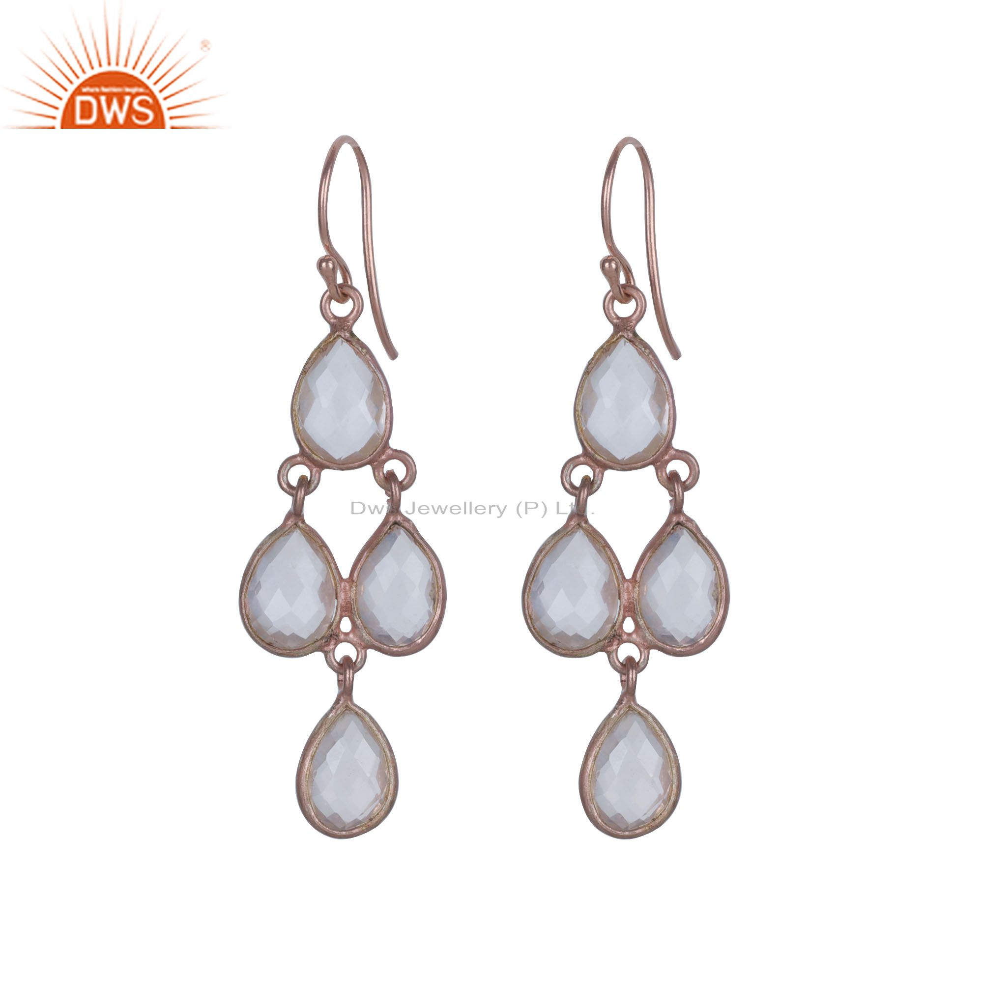 18K Rose Gold Plated Sterling Silver White Chalcedony Drop Chandelier Earrings