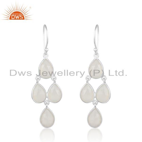 Chandelier earring in sterling silver 925 and white chalcedony