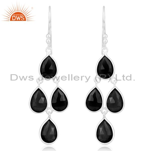 Black Onyx Gemstone 925 Sterling Fine Silver Earring Jewelry Manufacturer