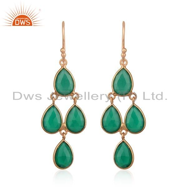Natural Green Onyx Gemstone Rose Gold Plated Silver Designer Earrings