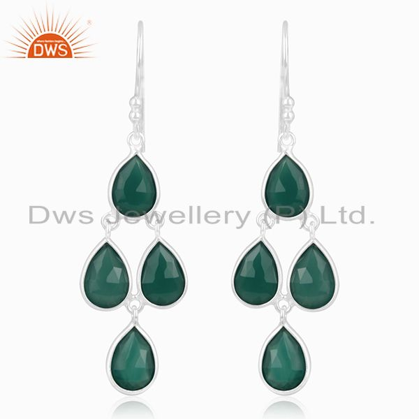 Green Onyx Gemstone Sterling Fine Silver Earrings Jewelry Manufacturer