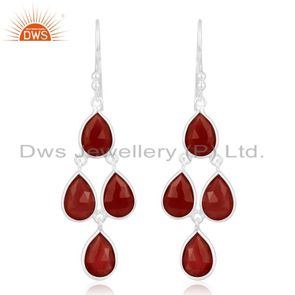 Red Onyx Gemstone Fine 925 Sterling Silver Earring Manufacturer of Jewelry