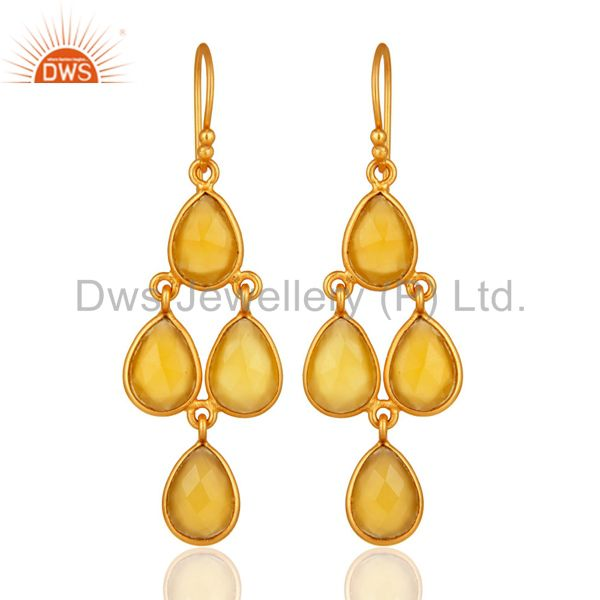 Gold Plated Sterling Silver Chalcedony Bezel-Set Chandelier Earrings