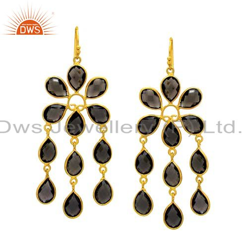 18K Yellow Gold Plated Sterling Silver Smoky Quartz Bridal Chandelier Earrings