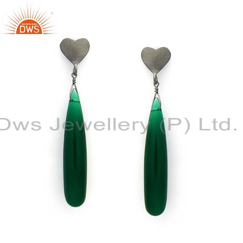 Oxidized Sterling Silver Green Onyx Gemstone Smooth Dangle Heart Earrings