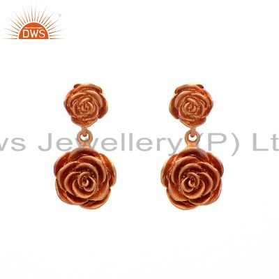 18K Rose Gold Plated Sterling Silver Flower Designer Dangle Earrings