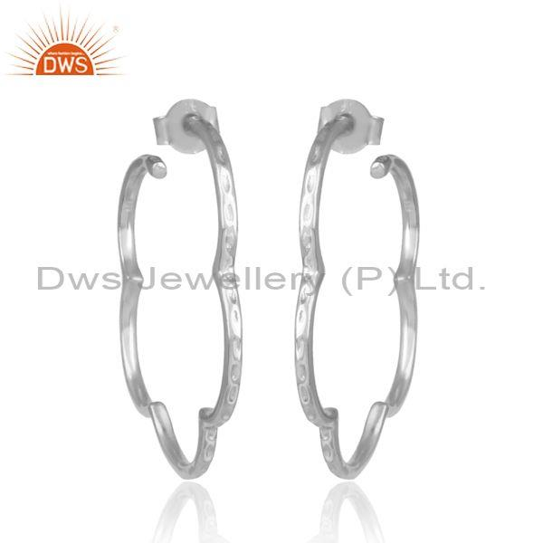 Handmade Floral Shaped White Rhodium On Silver Hoop Earrings