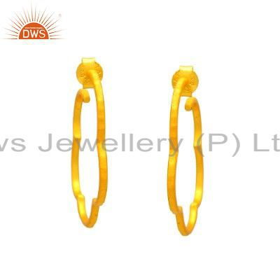 18K Yellow Gold Plated Sterling Silver Hammered Hoop Earrings