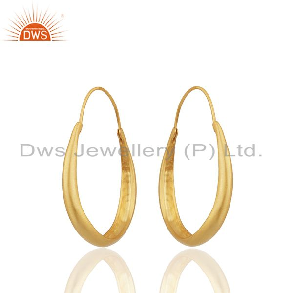 24k Yellow Gold Plated Sterling Silver Circle Design Hoop Earrings