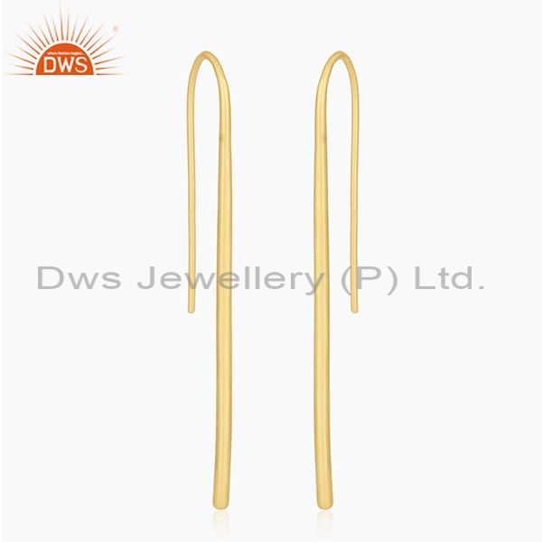 18K Yellow Gold Plated Sterling Silver Wire Dangle Earrings