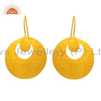 Handmade Gold Plated Plain Sterling Silver Designer Earring Wholesale in Jaipur