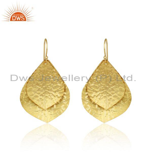 Leaf Textured Handmade Design Gold on Fashion Bold Earring