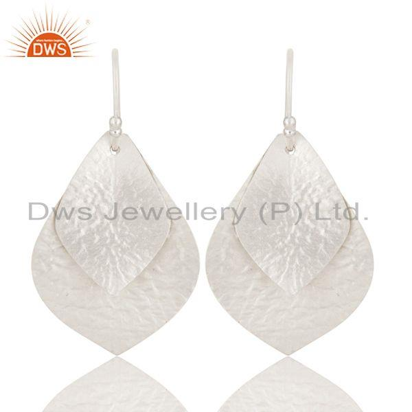 925 Sterling Silver Hammered Double Petals Designer Teardrop Earrings