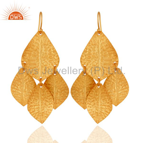 18K Yello Gold Plated Sterling Silver Classics Petals Womens Chandelier Earrings